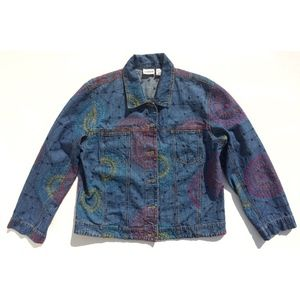 Chico's denim jacket size 2 multi-color embroidery